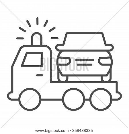 Tow Truck Thin Line Icon. Vehicle Salvage With Pick Up Damaged Vehicle Symbol, Outline Style Pictogr