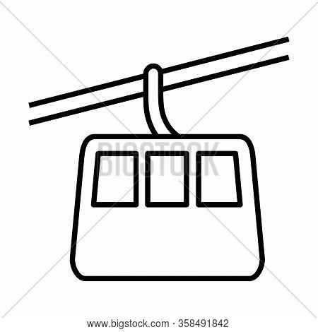 Aerial Tramway Icon Illustration. Black Outlines On White Background.