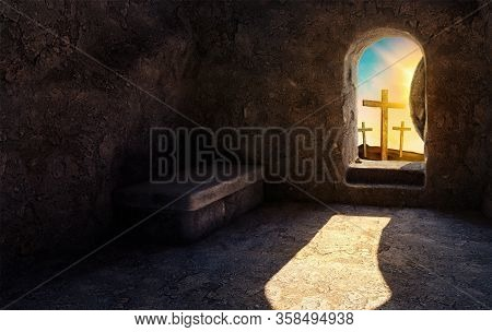 He Is Risen. Empty Tomb. Crucifixion At Sunrise. -3d Rendering. - Illustration.