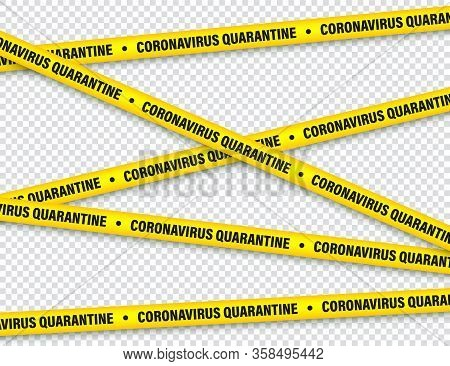 Quarantine Zone Warning Tape. Novel Coronavirus Outbreak. Global Lockdown. Coronavirus Danger Stripe