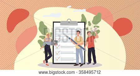 Marketing Group Analyzing Clients Feedback. Survey Form, Magnifying Glass, Team Flat Vector Illustra
