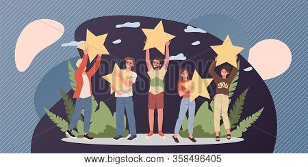 Satisfied Customers Rating Services Quality With Review Stars Vector Illustration. Happy People Hold
