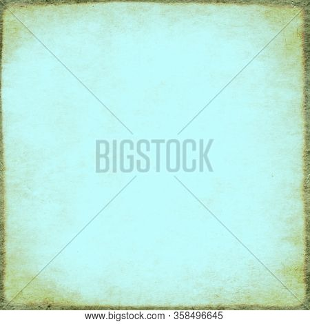 Retro background with texture of old soiled paper of blue color. Vintage square backgrop with grunge frame. Copy space for text