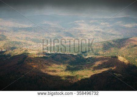 Beautiful Autumn Foggy Babia Gora