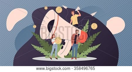 Business Speaker Shouting On Megaphone Vector Illustration. Promoter Attracting Target Buyers And Cl