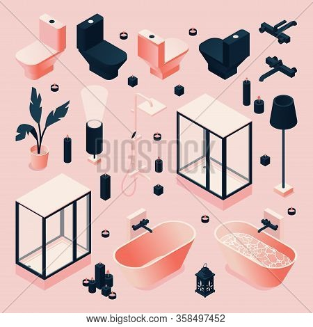 Set Drawn In Pink And Black For Bathroom With Furniture And Sanitary, Plumbing Isometric In Various