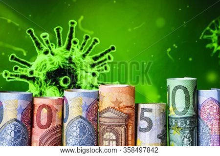 Europe Stockmarket Chart Downtrend With Banknote Background, Covid19 Virus Pandemic Crisis, Euros Ro