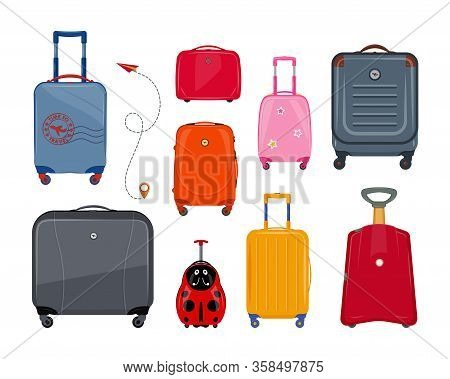 Set Of Colorful Suitcases. Plastic Suitcases And Bags For Luggage. Travel Suitcase, Journey Package,