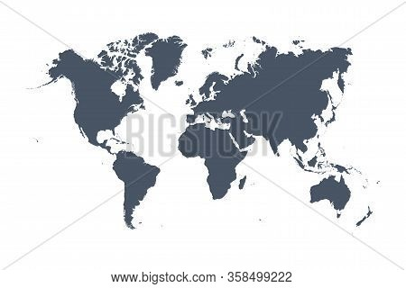 World Map Vector, Isolated On White Background. Flat Earth, Gray Map Template For Web Site Pattern,