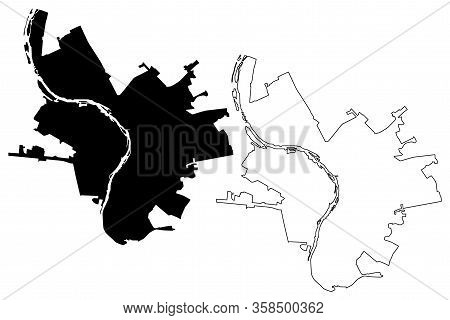 Omsk City (russian Federation, Russia) Map Vector Illustration, Scribble Sketch City Of Omsk Map