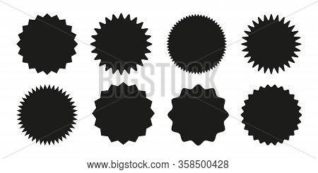 Set Of Vector Starburst, Sunburst Badges. Black Icons On White Background. Simple Flat Style Vintage