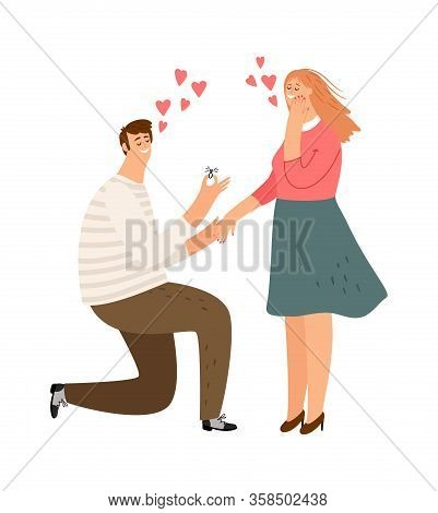 Proposal. Man Loves Woman. Guy Makes Girl An Offer. Get Married, Boy Gives A Ring To A Happy Female