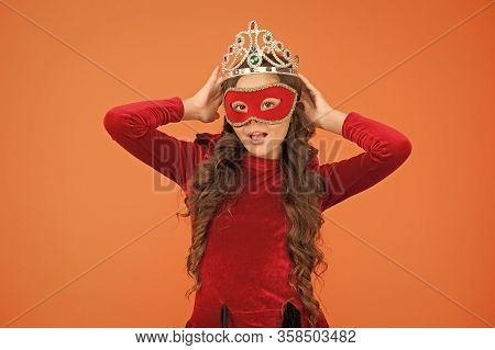 Just Call Me Big Boss. Big Boss Kid Orange Background. Small Girl Boss Wear Crown And Mask. Ambitiou