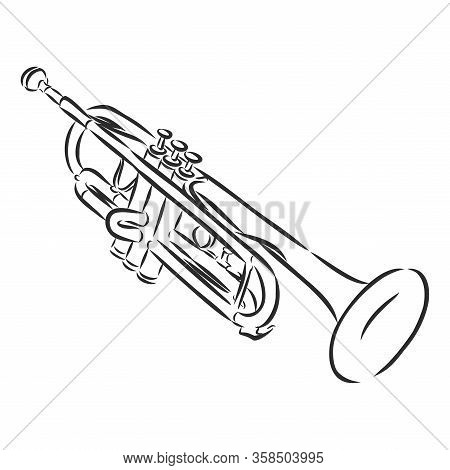 Musical Wind Jazz Instrument Trombone. Vector Illustration Classical Trumpet In Doodle Outline Style