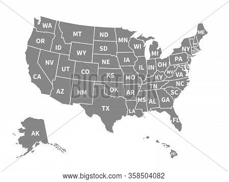 Usa Map. Infographic Us Map With Grey States And Pins, Topographic Info Outline Road, Travel Poster