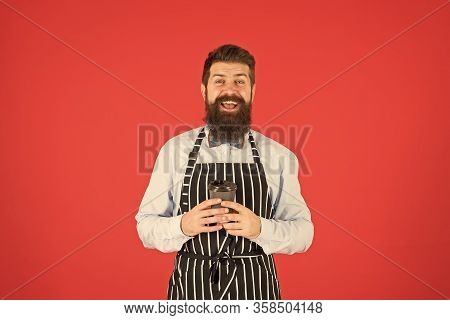 Inspired With Cup Of Fresh Coffee. Brutal Waiter In Cafe. Mature Man Red Background. Skilled Servant