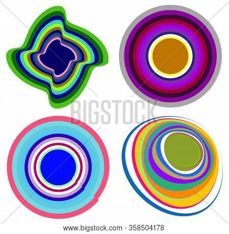 Set Of Mottled, Multi Color And Colorful Spiral, Swirl, Twirl Shapes. Vortex, Whorl Shape With Rotat