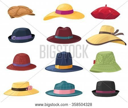 Hats And Headgears. Stylish Summer Male And Female Headwear, Vintage Classic And Modern Hats, Clothe