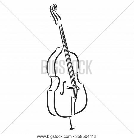 Line Art Cello Musical Instrument, Vector Sketch
