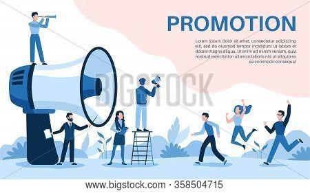 Promotion With Megaphone. Big Loudspeaker, Promoter Speaks People, Attracts Investors And Businessme