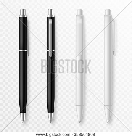 Pen Mockup. Realistic Pens Close Up Template With Shadow, Presentation Stationery Supplies Pens For