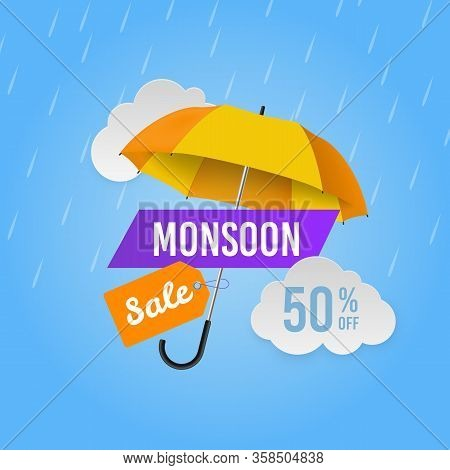 Monsoon Sale. Season Promotional Offers, Shop Banner. Web Header Design With Umbrella And Raindrops