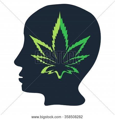 Marijuana Icons Cbd. Cannabinoid Logo. Marijuana Leaf Oil. Hemp Oil. Illustration On Isolated Backgr