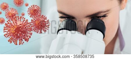 Scientist Looking Through A Microscope, Against The Background 3d Viruses Flying. Searching Coronavi