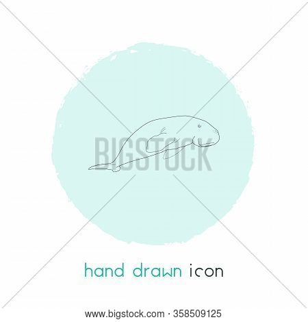 Sea Cow Icon Line Element. Vector Illustration Of Sea Cow Icon Line Isolated On Clean Background For