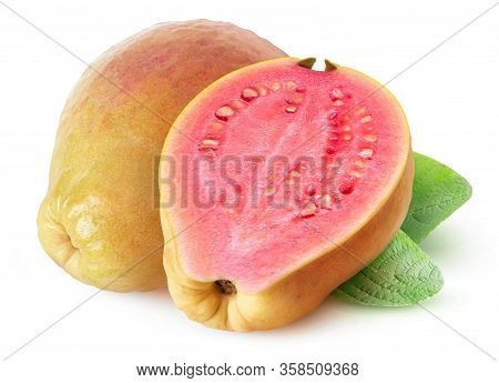 Isolated Yellow Pink Fleshed Guava. Whole Yellow Guava Fruit And A Half Isolated On White Background