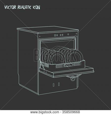 Dishwasher Icon Line Element. Vector Illustration Of Dishwasher Icon Line Isolated On Clean Backgrou