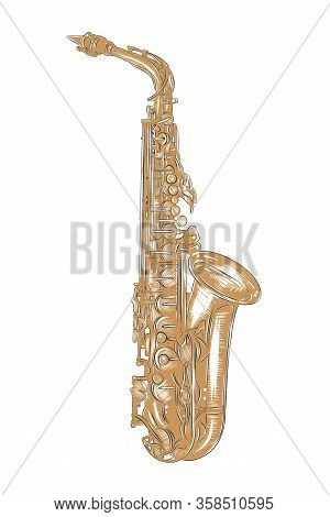 Vector Engraved Style Illustration For Posters, Decoration And Print. Hand Drawn Sketch Of Saxophone