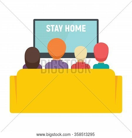 Family And Kids Watching Tv Vector Concept. Illustration With Family Watching Tv With Message Stay H