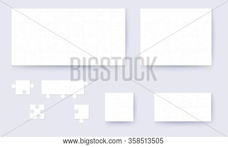 Parts Of Puzzles On White Template. Set Of Puzzle 1, 3 , 6, 12, 20, 32, 48 Pieces