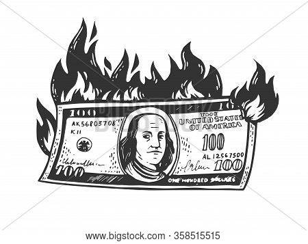 Burning Dollars Money Sketch Engraving Vector Illustration. T-shirt Apparel Print Design. Scratch Bo