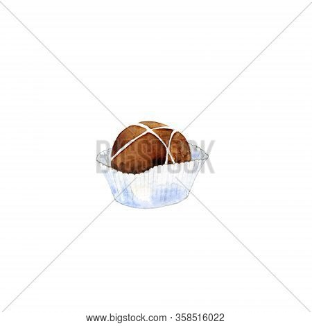 Milk Chocolate In Paper Cup. Cacao Candy Isolated On White. Watercolor Illustration Of Confection Fo
