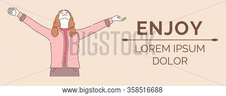 Enjoy Banner Design Template With Text Space. Young Woman In Casual Clothes Standing With Open Arms