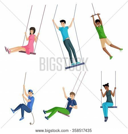 Set Of Smiling People Sitting And Standing On Swings And Swinging On Rope Swings. Young Men And Woma