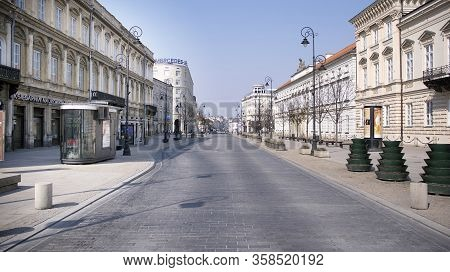 Warsaw, Poland. 28 March 2020. The Streets And Main Places Of Remain Deserted Due To The Coronavirus