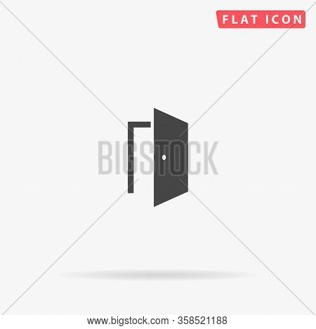Door Flat Vector Icon. Glyph Style Sign. Simple Hand Drawn Illustrations Symbol For Concept Infograp