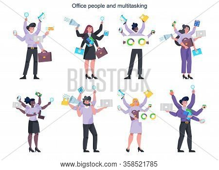Multitasking Business People With Many Hands Set. Effective