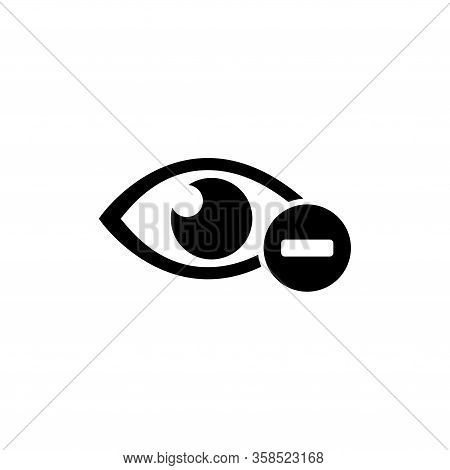 Human Eye With Minus, Nearsighted Vision, Myopia. Flat Vector Icon Illustration. Simple Black Symbol
