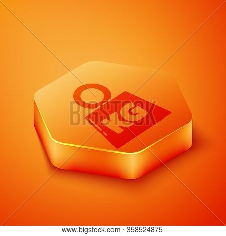 Isometric Weight Icon Isolated On Orange Background. Kilogram Weight Block For Weight Lifting And Sc