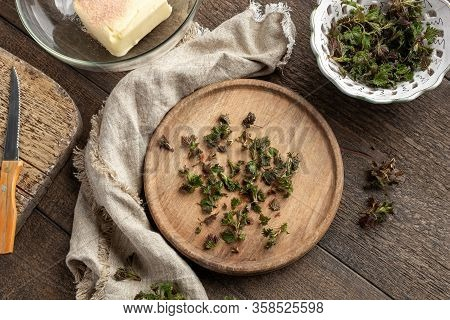 Cut-up Young Nettle Leaves - Preparation Of Herbal Butter, Top View