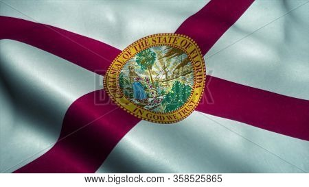 Florida State Flag Waving In The Wind. National Flag Of Florida. Sign Of Florida. 3d Illustration.