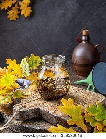 Oak Bark Macerating In Alcohol, To Prepare Homemade Herbal Tincture