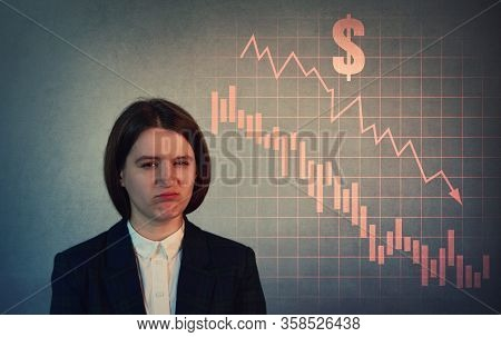 Annoyed Businesswoman, Discouraged And Depressed Look Due Recession. Economic Crisis Concept, Stock