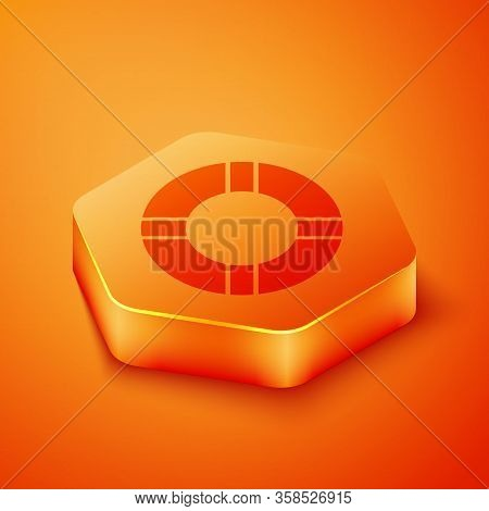 Isometric Lifebuoy Icon Isolated On Orange Background. Life Saving Floating Lifebuoy For Beach, Resc