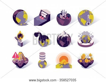Global Warming And Pollution Isometric Icons Set. Greenhouse Effect, Melting Glaciers, Forest Fires