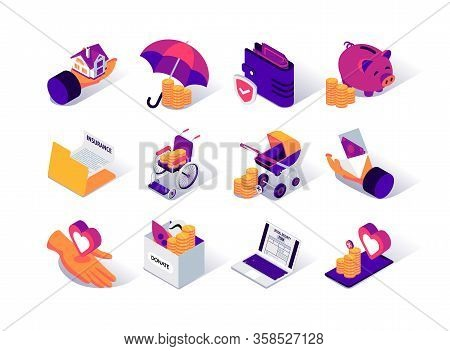 Social Security Isometric Icons Set. Social Benefits For Disability, Payments For Pension And Childb